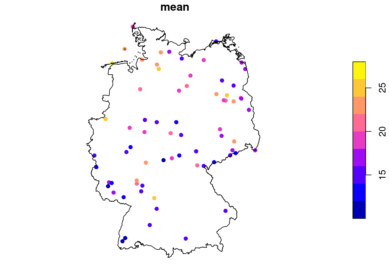 locations of PM$_{10}$ measurement stations, showing mean values