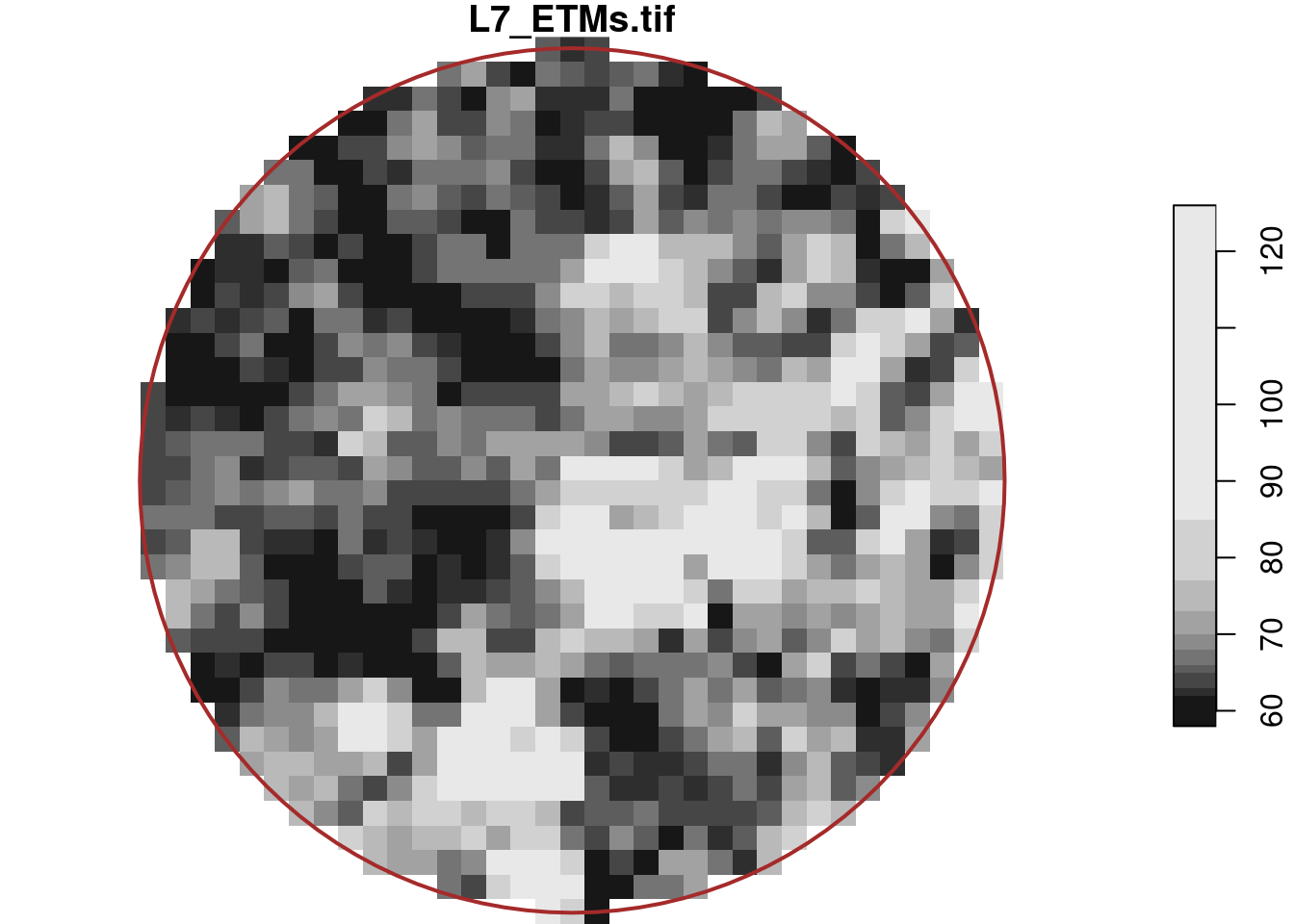 circular center region of the Landsat 7 scene (band 1)