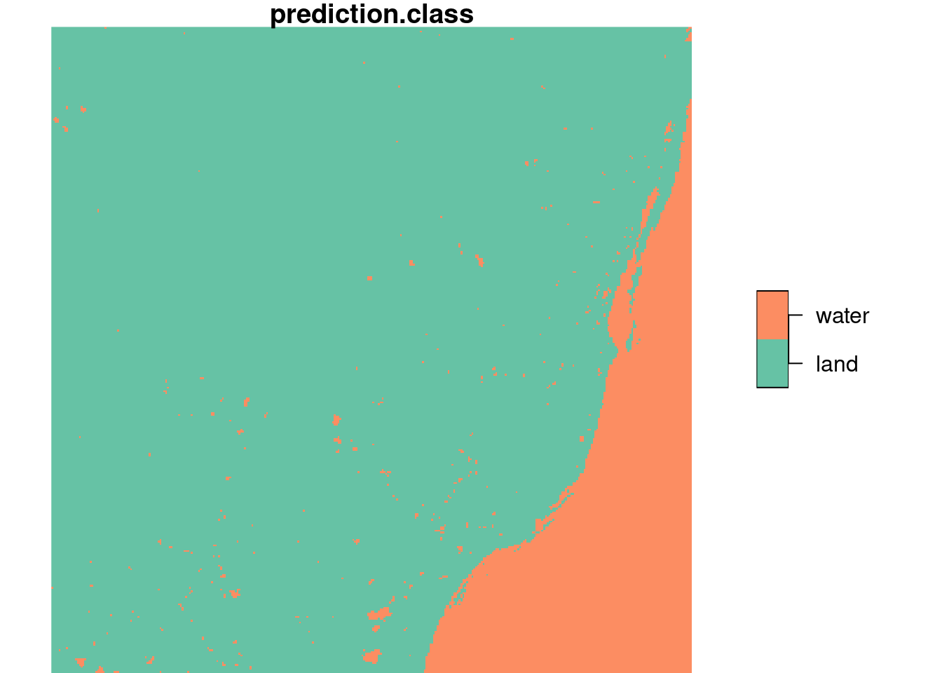 Linear discriminant classifier for land/water, based on training data of figure 7.6