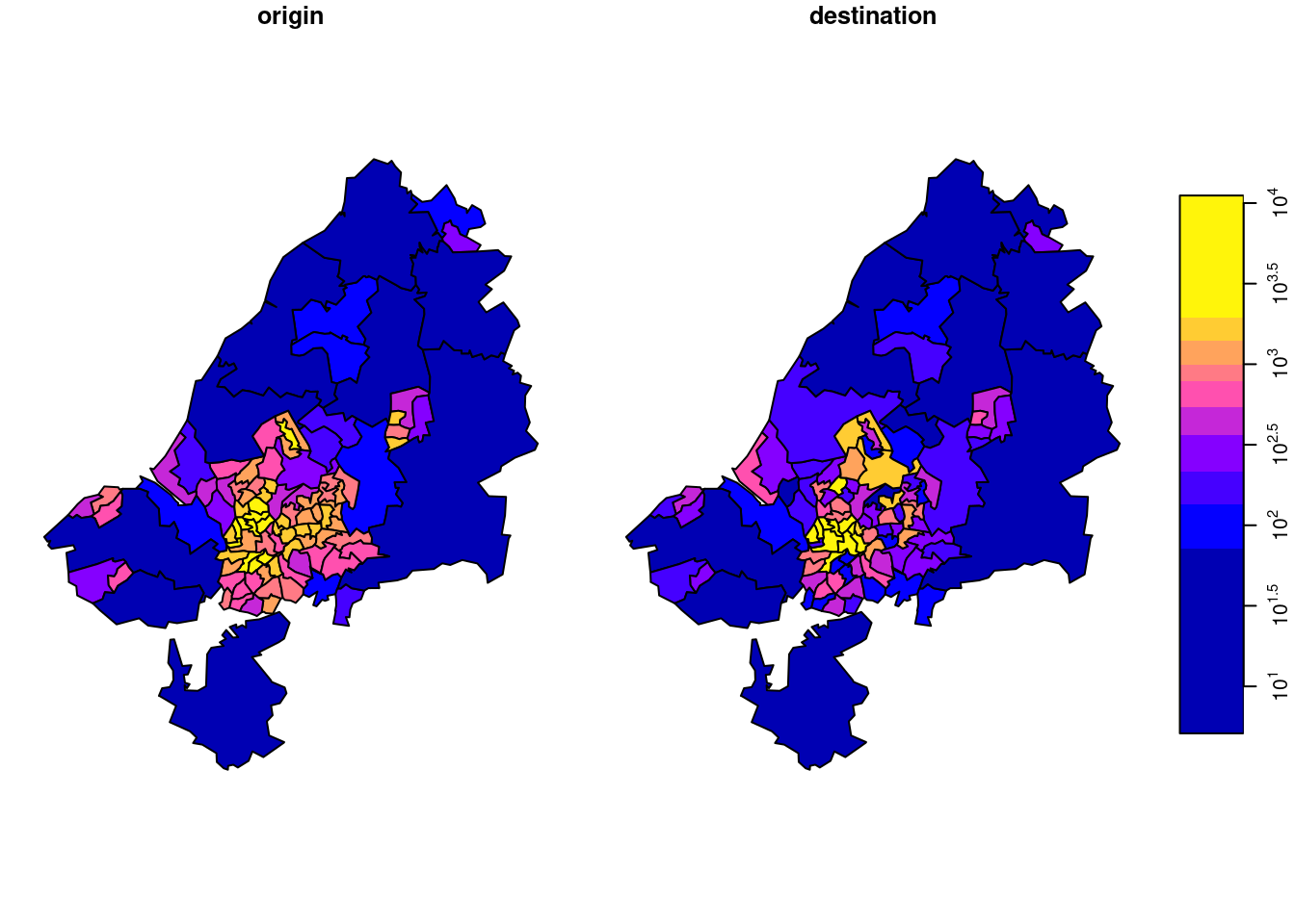 total commutes per square km, by area of origin (left) or destination (right)