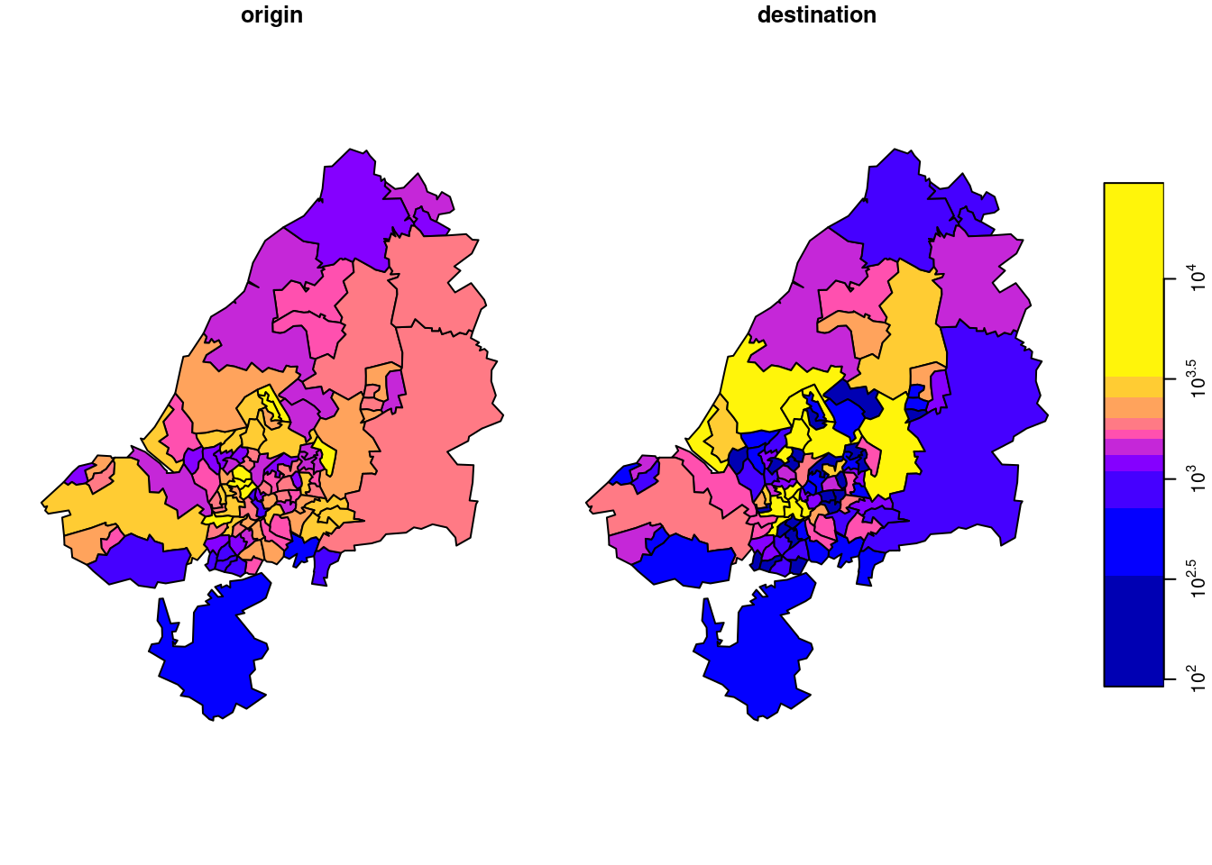 total commutes, summed by origin (left) or destination (right).
