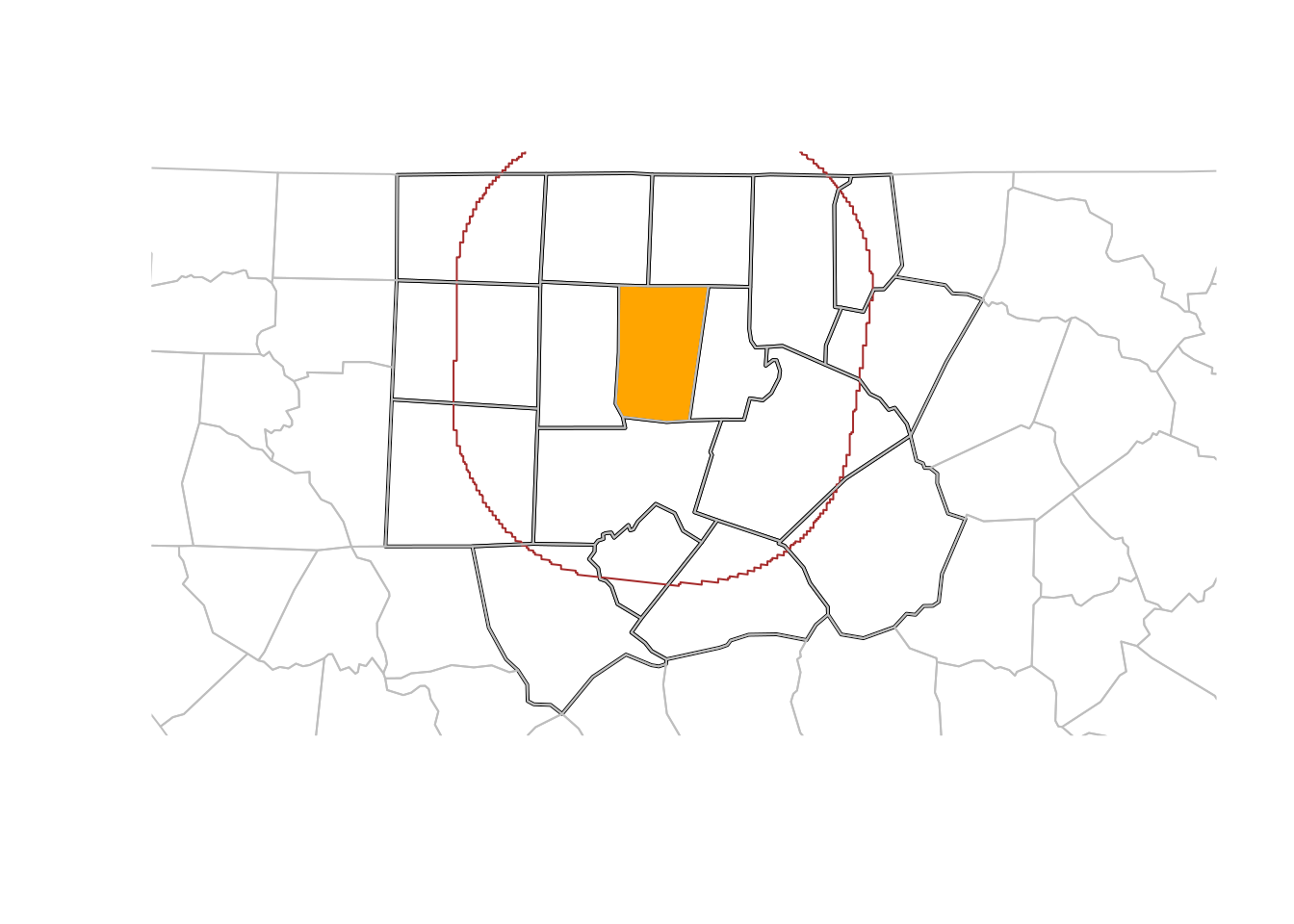 Orange county (orange), counties within a 50 km radius (black), a 50 km buffer around Orange county (brown), and remaining counties (grey)