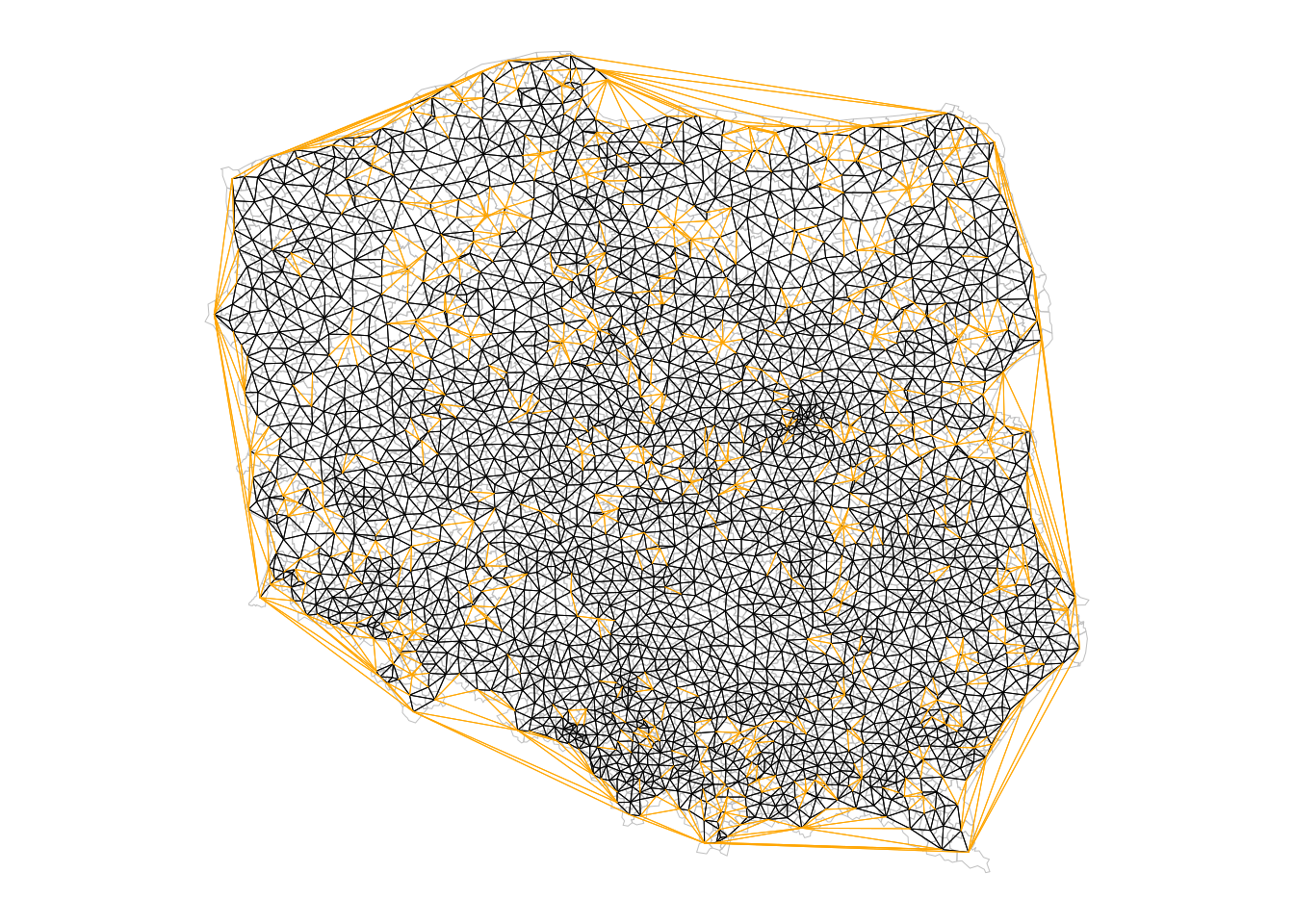 Triangulated (orange + black) and sphere of influence neighbours (black)