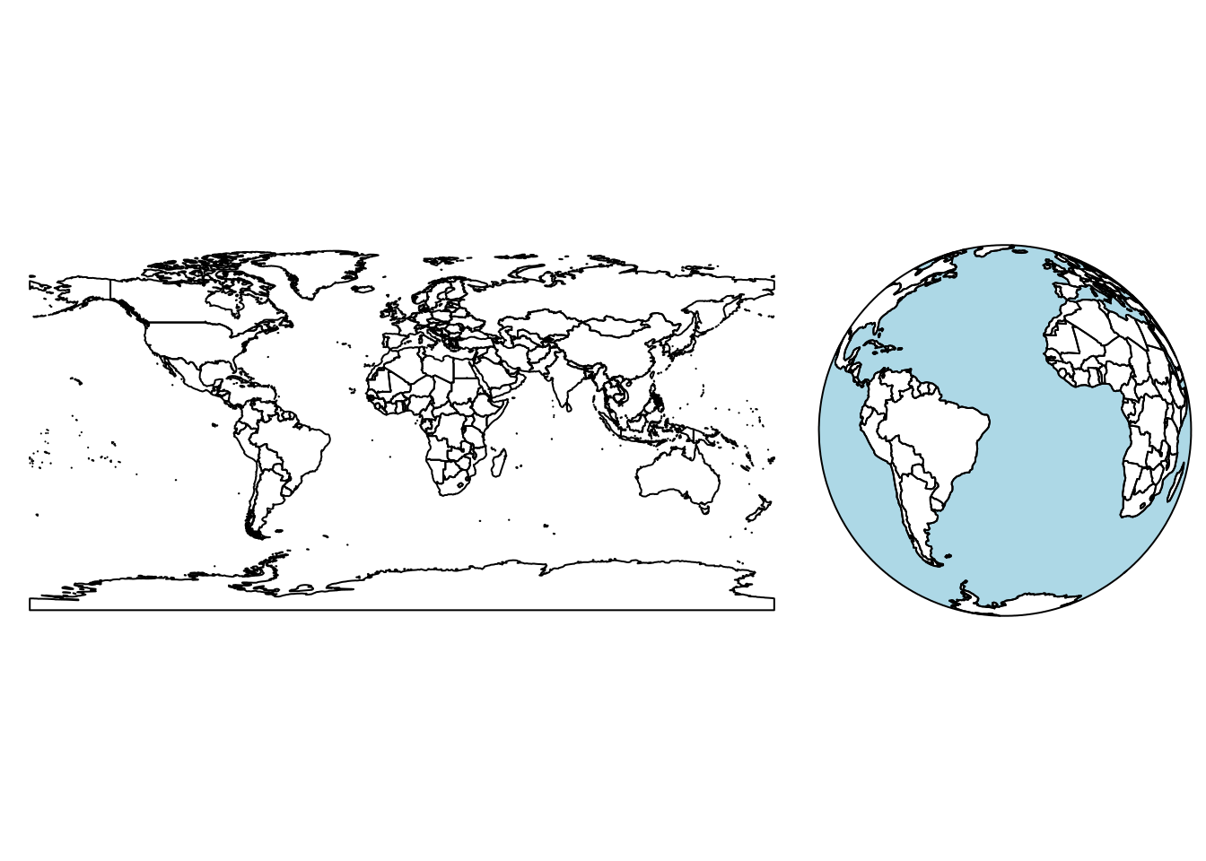 Earth country boundaries; left: mapping long/lat to x and y; right: as seen from space